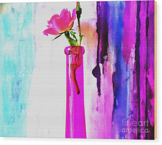 Rose On Abstract Wood Print by Marsha Heiken