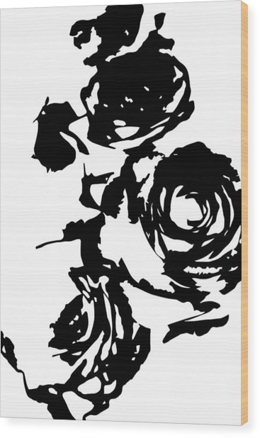 Rose Outline Wood Print