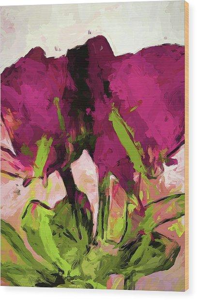 Rose Romantica Magenta Green Wood Print