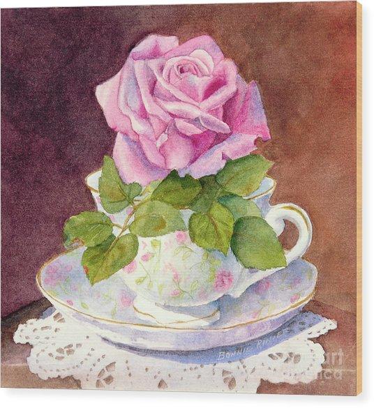 Rose Tea Wood Print