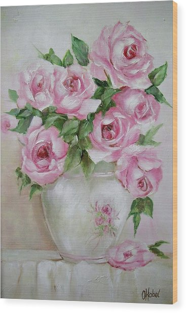 Rose Vase Wood Print