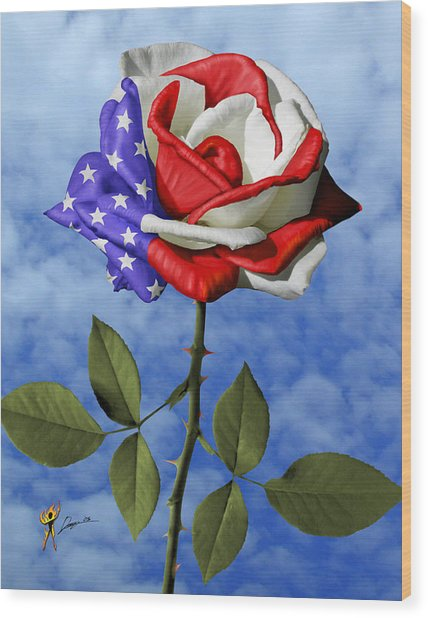 Rose White And Blue Wood Print