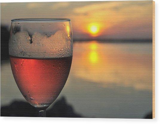 Rose Wine   Key Largo Sunset   Life Is Good Wood Print by Jonathan Galente