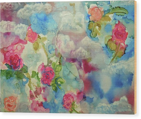 Roses Among The Clouds Wood Print