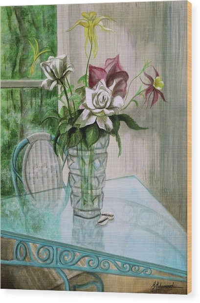 Roses And Columbine Wood Print by Marcella Muhammad