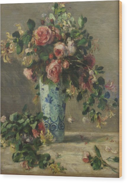 Roses And Jasmine In A Delft Vase Wood Print by Pierre Auguste Renoir
