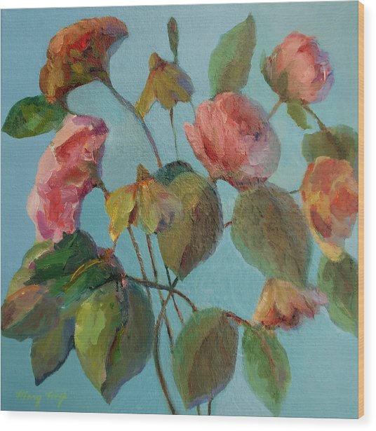 Roses And Wildflowers Wood Print