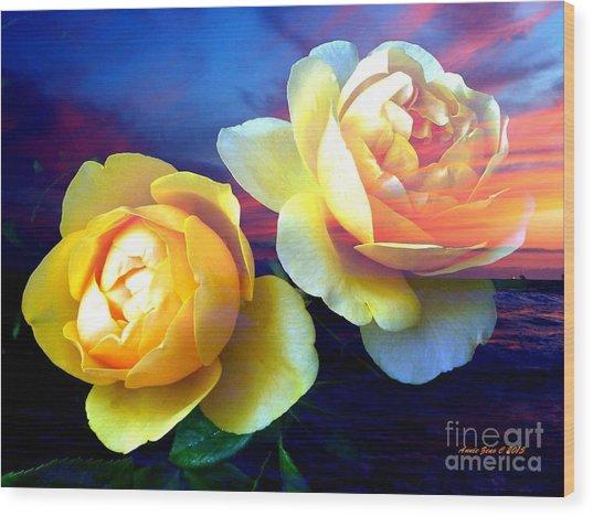 Roses Basking In A Ocean Sunset Wood Print