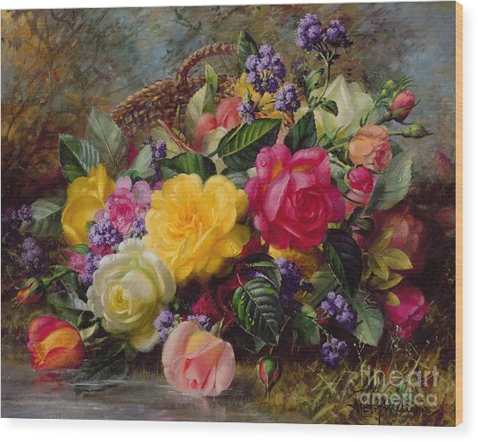 Roses By A Pond On A Grassy Bank  Wood Print