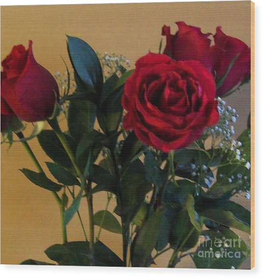 Roses For Valentines Day Wood Print by Marsha Heiken