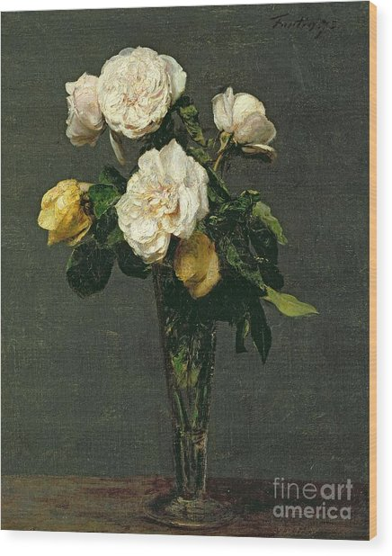 Roses In A Champagne Flute Wood Print