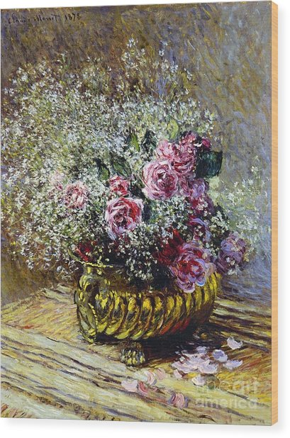 Roses In A Copper Vase Wood Print