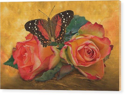 Roses In Golden Light 2 Wood Print