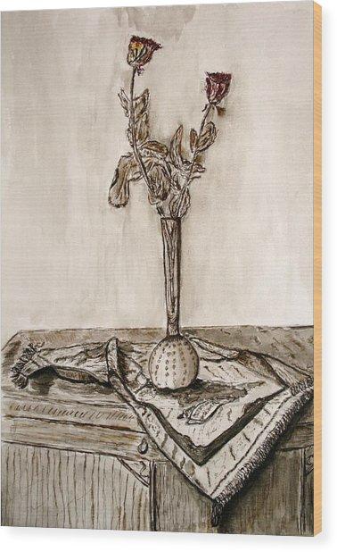 Roses In Sepia. Wood Print