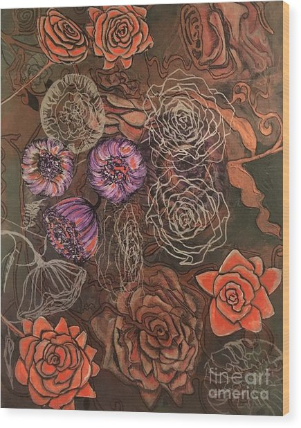 Roses In Time Wood Print