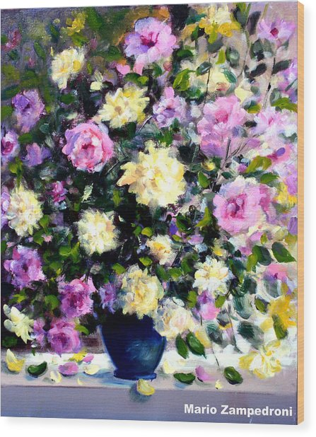 Roses Wood Print by Mario Zampedroni