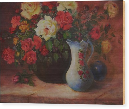 Wood Print featuring the painting Roses N'blue by Naomi Dixon