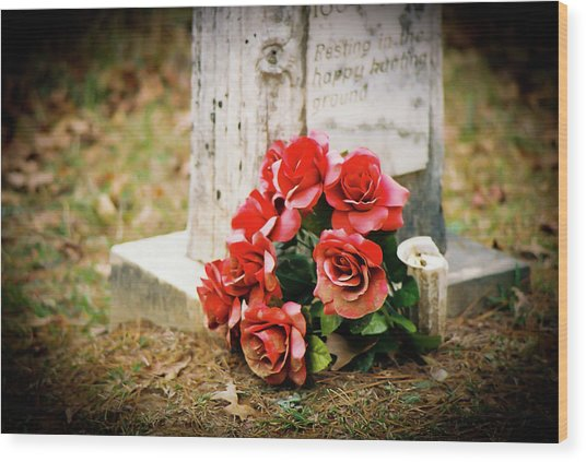Roses On A Grave Wood Print by Jonathan  Daniels