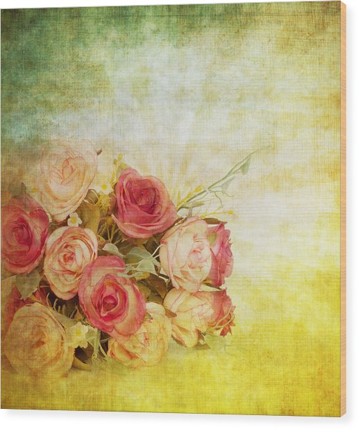 Roses Pattern Retro Design Wood Print