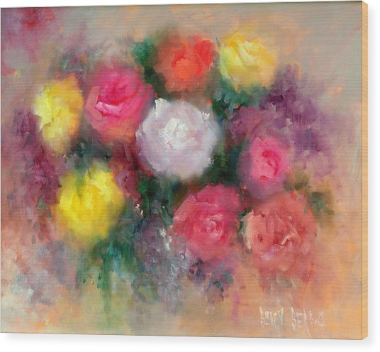 Roses Wood Print by Sally Seago