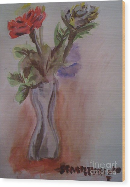 Roses Wood Print by Stan Levine