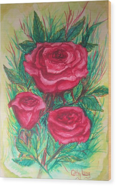 Roses Three Wood Print