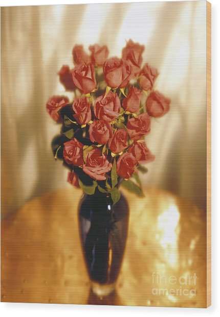Roses Wood Print by Tony Cordoza