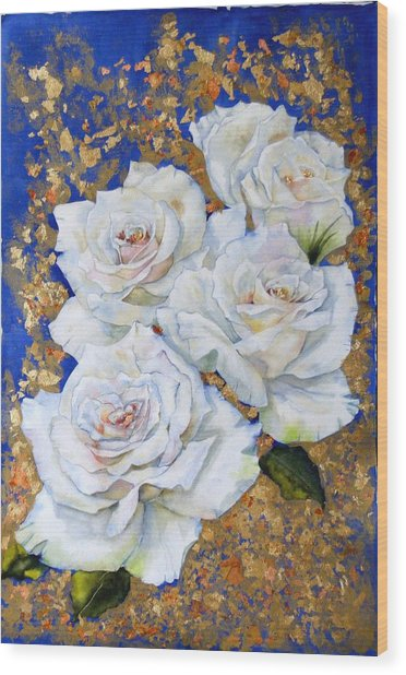 Roses With Gold Leaf Wood Print