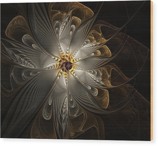 Rosette In Gold And Silver Wood Print