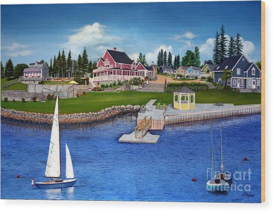 Rosewood Cottages Nova Scotia Wood Print by Donald Hofer