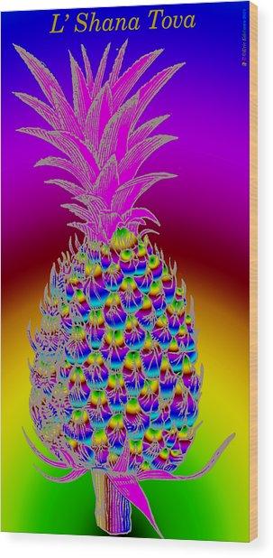 Rosh Hashanah Pineapple Wood Print
