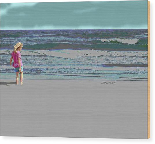 Rosie On The Beach Wood Print