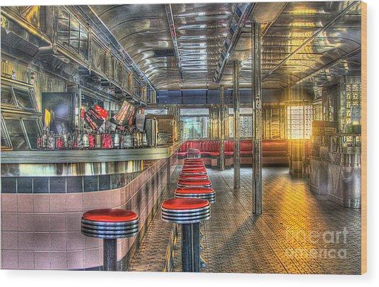 Rosies Diner Wood Print