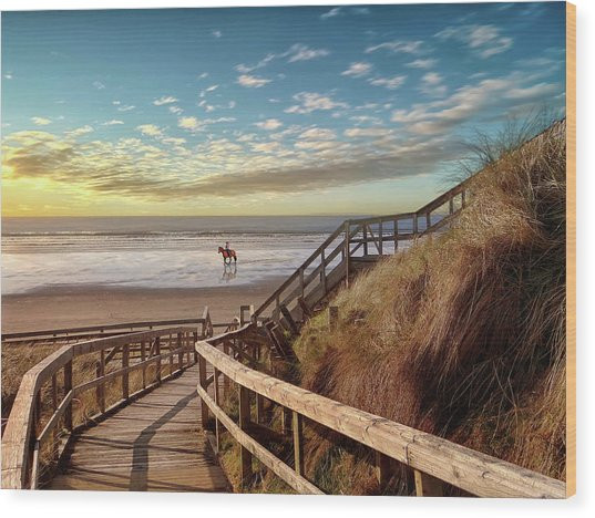 Rossnowlagh Beach At The End Of The Day - With A Horse Wood Print