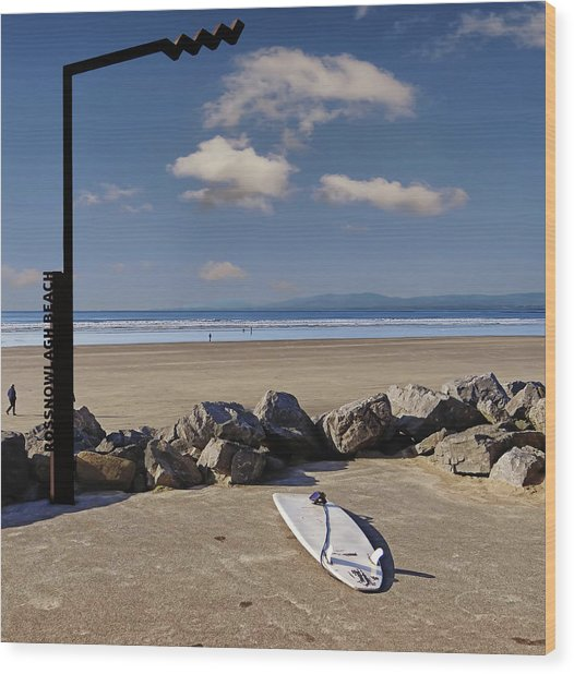 Rossnowlagh Beach On The Wild Atlantic Way With A Surfboard And Rocks Wood Print