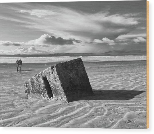 Rossnowlagh Beach - The Old Wartime Fortifications Sinking In The Sand With A Dramatic Sky Wood Print