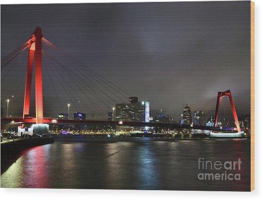 Rotterdam - Willemsbrug At Night Wood Print