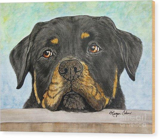 Rottweiler's Sweet Face 2 Wood Print
