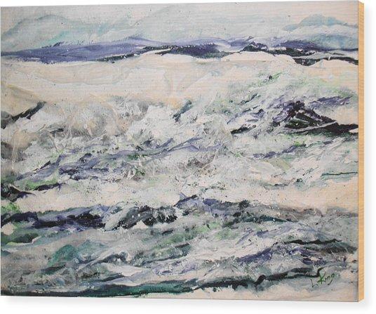 Rough Sea Wood Print by Linda King
