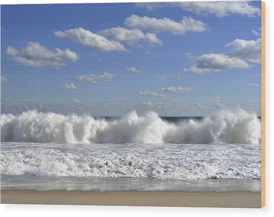 Rough Surf Jersey Shore  Wood Print