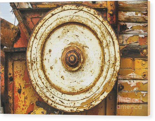 Round And Around And Wood Print by Kim Lessel
