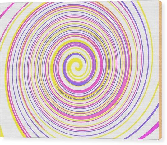 Round And Round Wood Print
