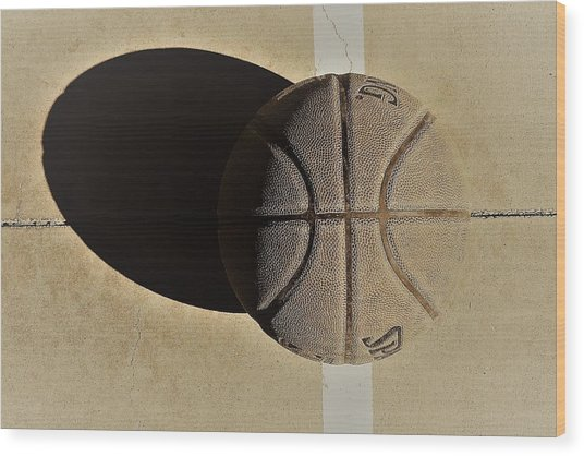 Round Ball And Shadow Wood Print