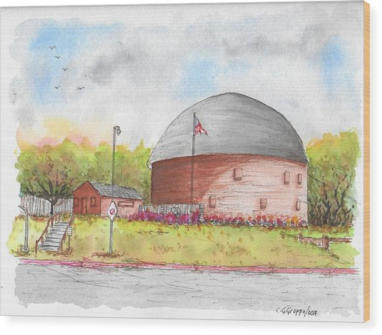 Round Barn In Route 66, Arcadia, Oklahoma Wood Print