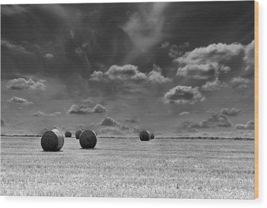 Round Straw Bales Landscape Wood Print