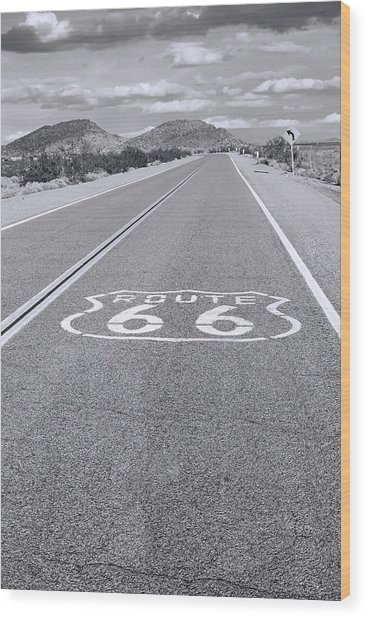 Route 66 Black And White Wood Print