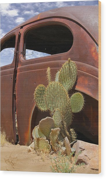 Route 66 Cactus Wood Print