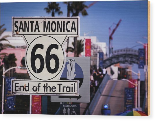 Route 66 End Of Trail Wood Print