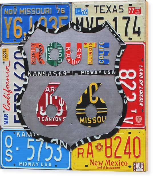Route 66 Highway Road Sign License Plate Art Wood Print
