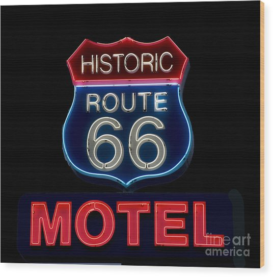 Route 66 Neon Sign Wood Print